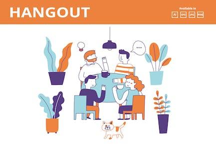 Coffee/ Tea talk doodle illustration