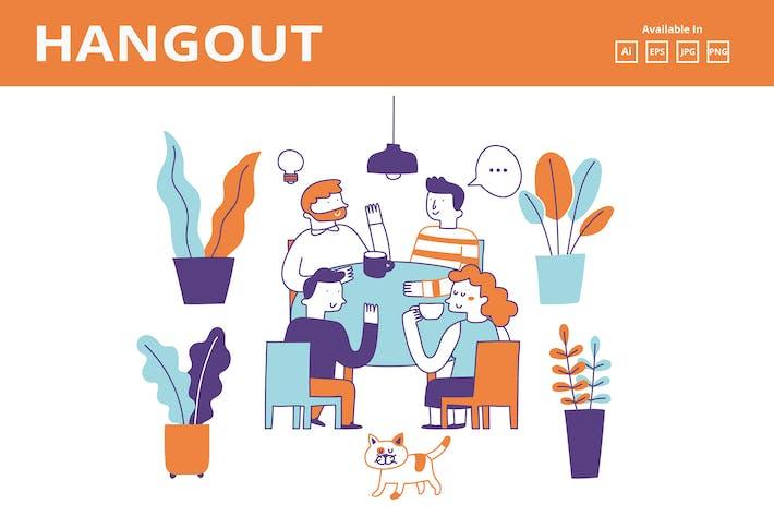 Thumbnail for Coffee/ Tea talk doodle illustration