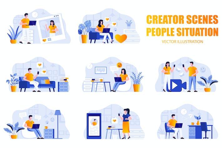 Thumbnail for Social Media People Character Scene Creator Kit