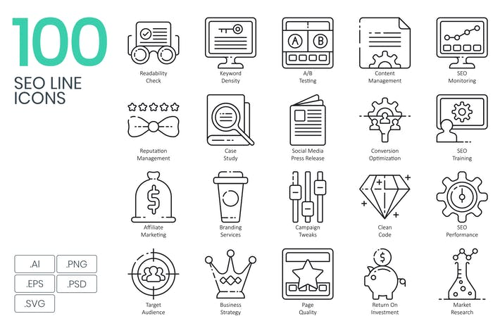 Thumbnail for 100 SEO Line Icons