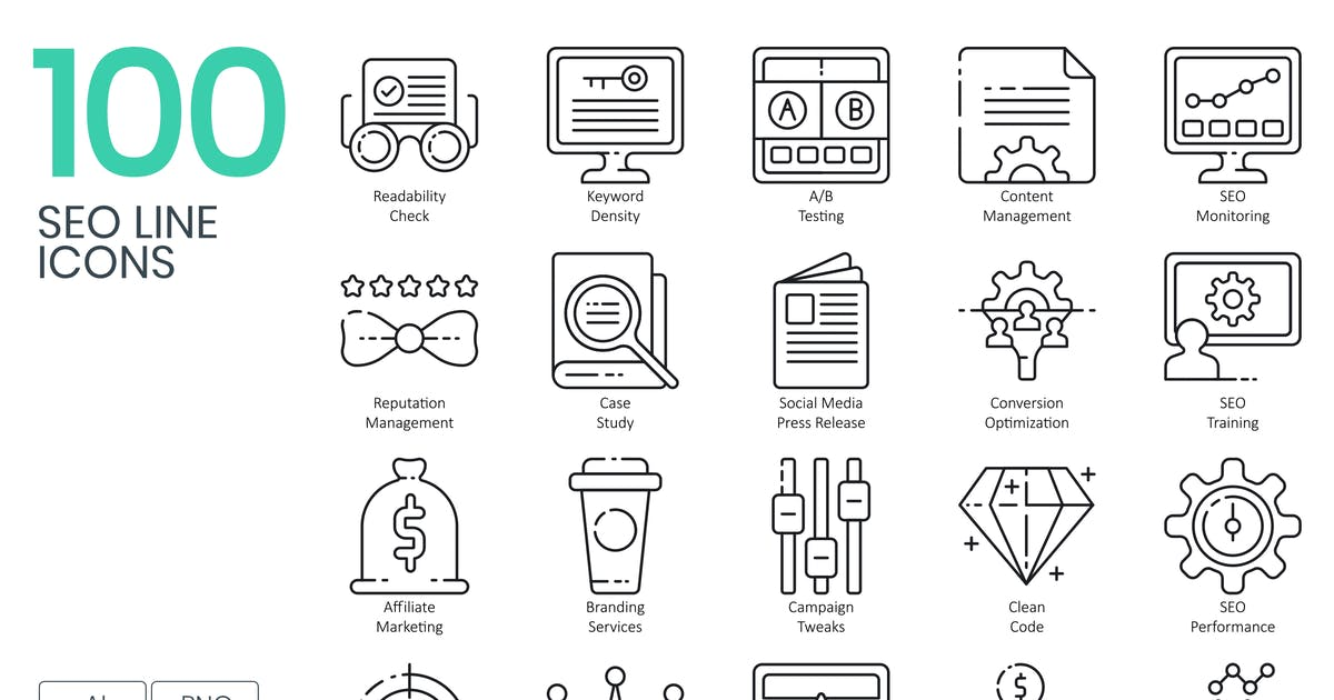 100 SEO Line Icons by Krafted