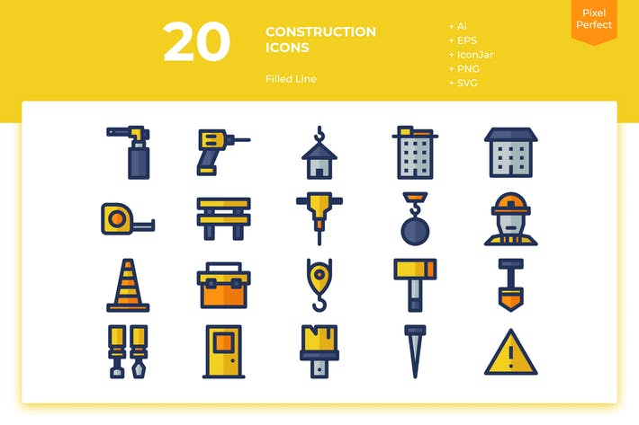 Thumbnail for 20 Construction Icons (Filled Line)