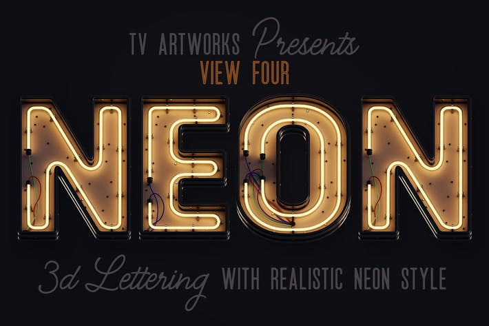 Thumbnail for Modern Neon 3D Lettering View 4