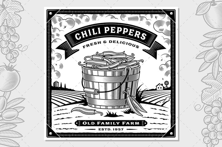 Thumbnail for Retro Chili Pepper Harvest Label With Landscape