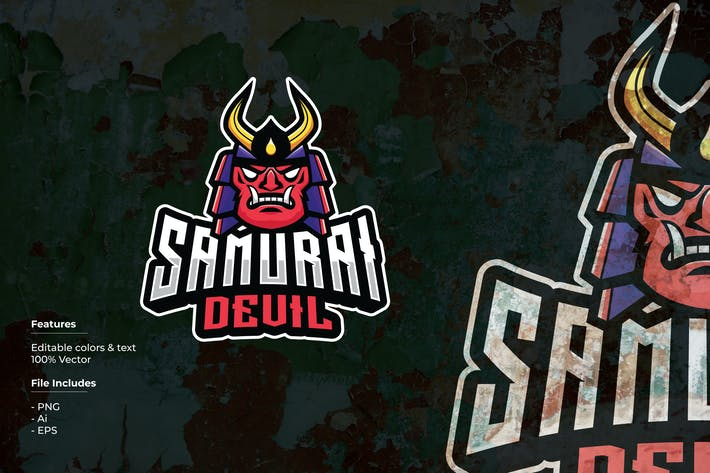 Thumbnail for Samurai Devil Sport and Esport Logo Template