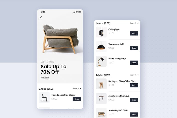 Cover Image For Modern Furniture Mobile App UI Kit