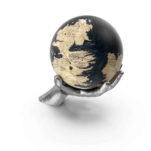Silver Hand Holding a Fantasy Globe
