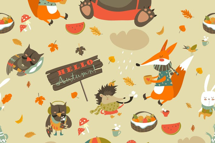 Cover Image For Autumn forest seamless pattern with cute animals