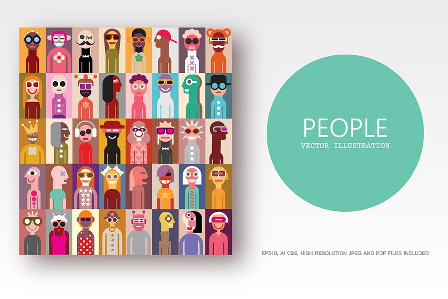 Group of people pop art style vector illustration