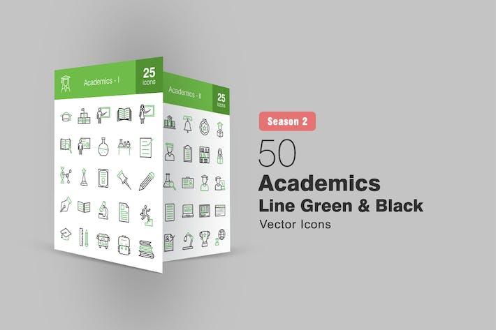 50 Academics Line Grüne & schwarze Icons Saison II