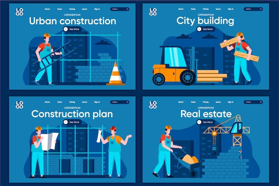 Modèle de page d'accueil Concept de construction de la ville