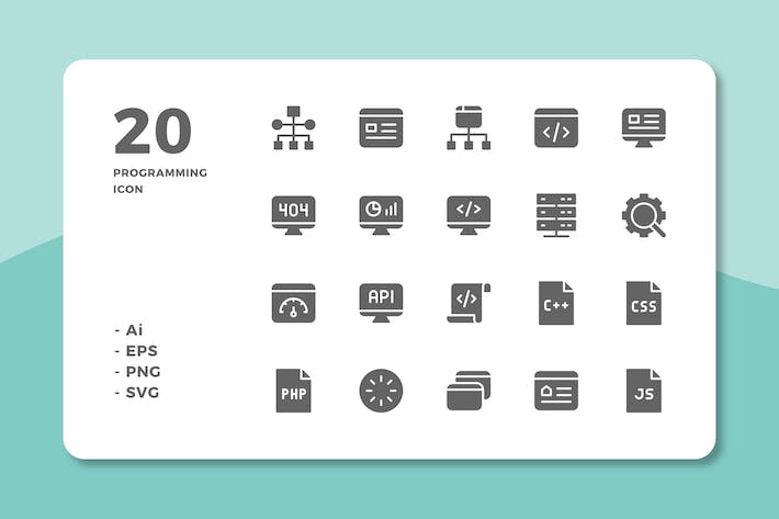 Thumbnail for 20 Programming Icons (Solid)