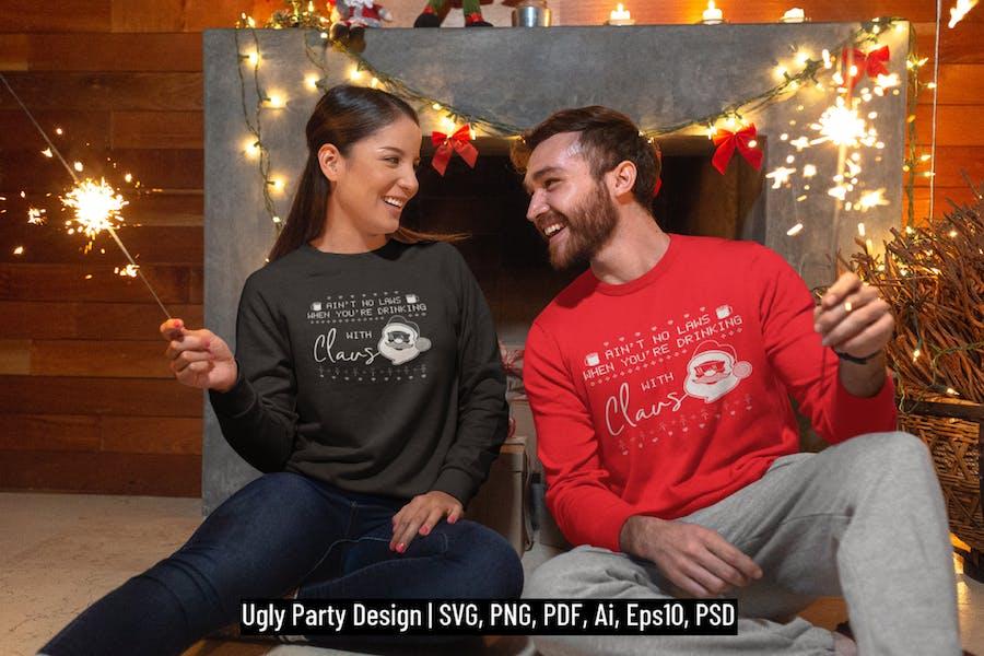 Santa Christmas Ugly Print Template, TShirt Design