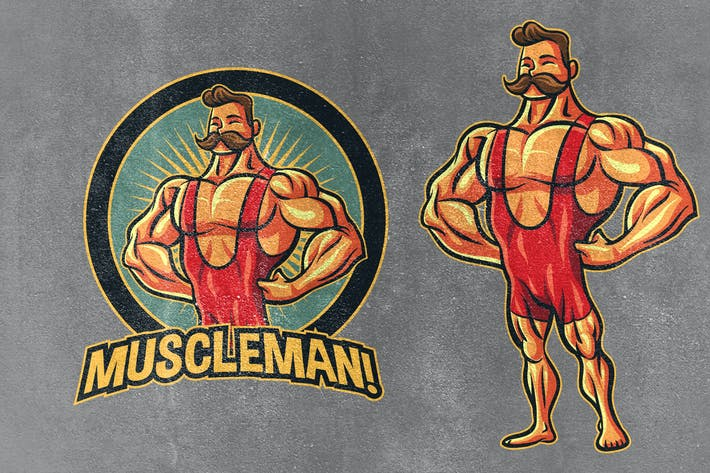 Thumbnail for Classic Vintage Retro Bodybuilder Mascot Logo