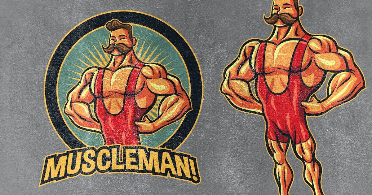 Download Classic Vintage Retro Bodybuilder Mascot Logo by Suhandi