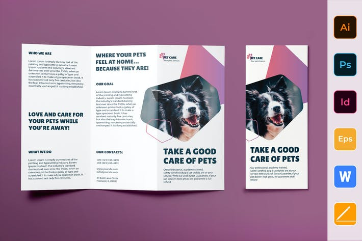 Cover Image For Pet Grooming Care Trifold Brochure