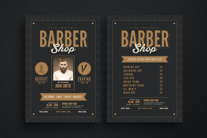 Thumbnail for Hipster barbershop flyer
