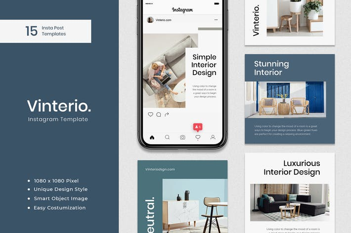 Thumbnail for Vinterio - Interior Instagram Post Template