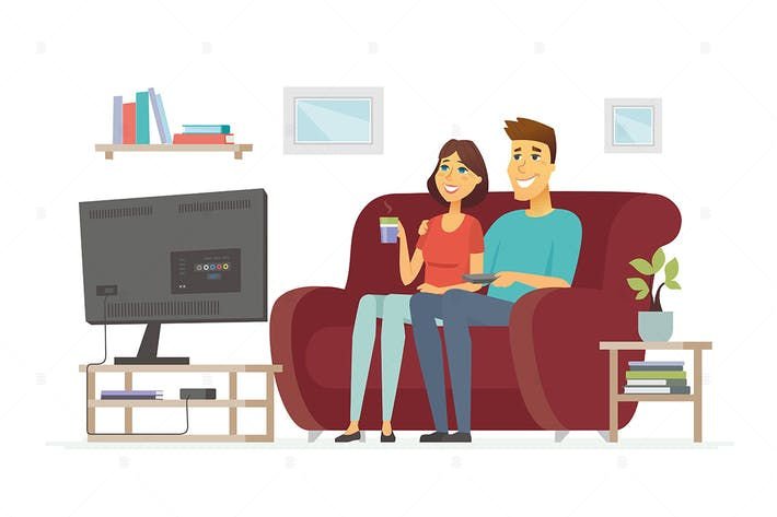 Thumbnail for Couple watching TV - vector illustration