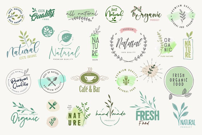 Stickers and badges for organic products