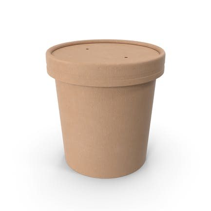 Kraft Paper Food Cup with Vented Lid Disposable Ice Cream Bucket 12 Oz 300 ml