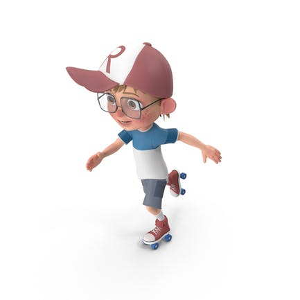 Cartoon Junge Harry Skating
