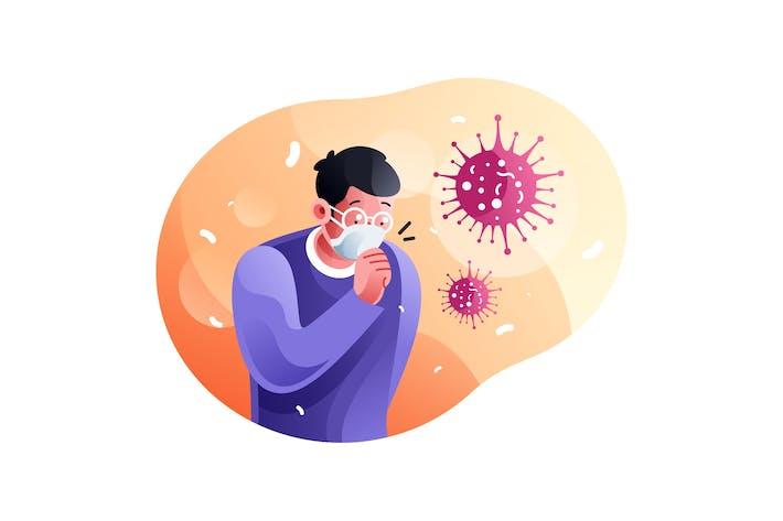 Thumbnail for Mann Husten wegen infektiösen Coronavirus