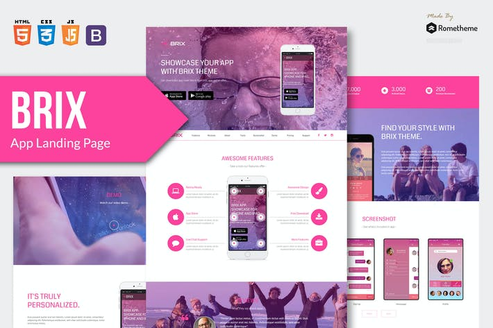 Thumbnail for BRIX - Mobile App landing page HTML Template RS