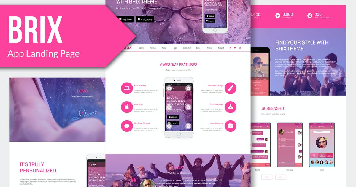 Download BRIX - Mobile App landing page HTML Template RS by Rometheme