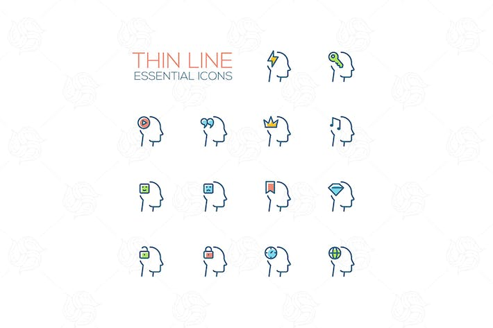 Thumbnail for Thoughts in Heads - Thin Single Line Icons Set