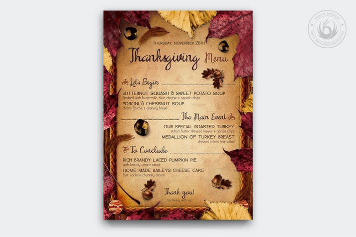 Thumbnail for Thanksgiving Menu Template V3
