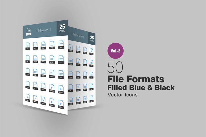 Thumbnail for 50 File Formats Blue & Black Icons