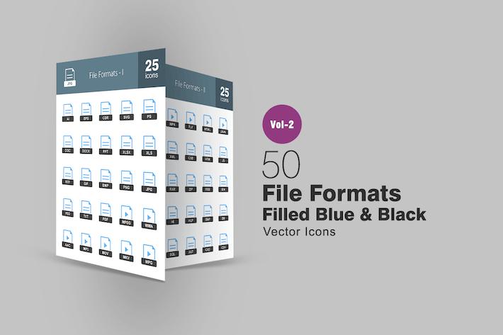 Thumbnail for 50 Dateiformate Blau & Schwarz Icons