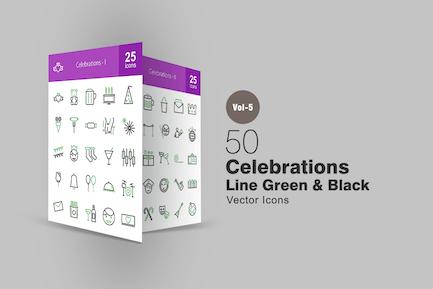 50 Celebrations Line Green & Black Icons