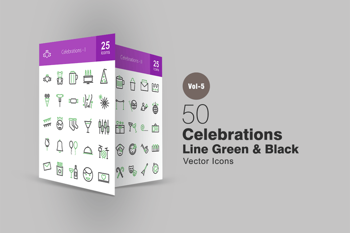 Thumbnail for 50 Celebrations Line Green & Black Icons