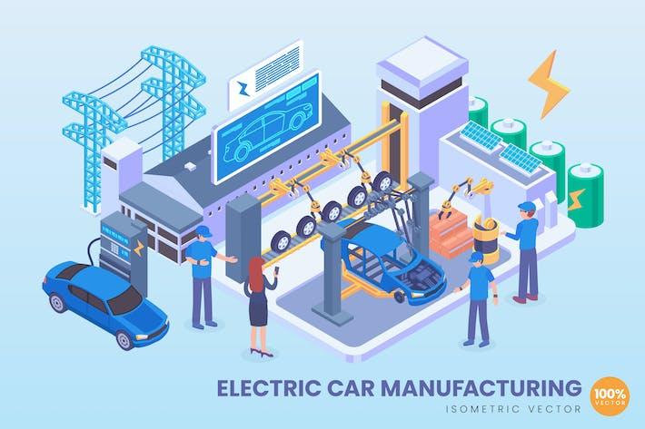 Thumbnail for Вектор производства изометрического электромобилей