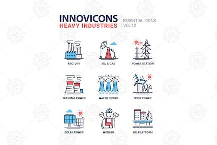 Heavy industry line design icons set