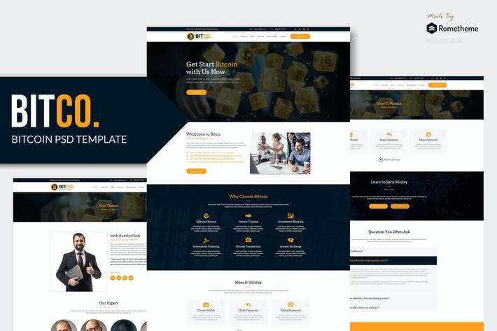 Thumbnail for BITCO - Bitcoin and Cryptocurrency PSD Template