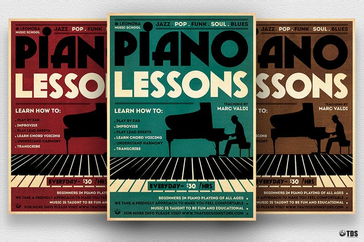 Thumbnail For Piano Lessons Flyer Template