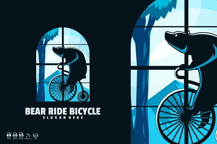 Bear Ride Bicycle logo template