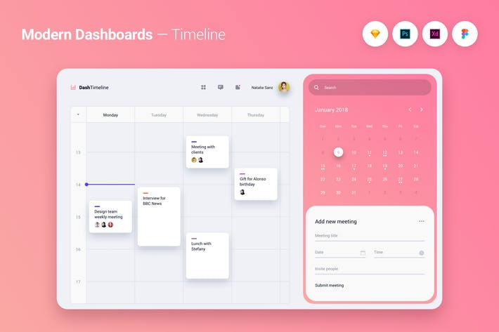 Thumbnail for Modern Dashboard UI UX Kit Template Theme - 4