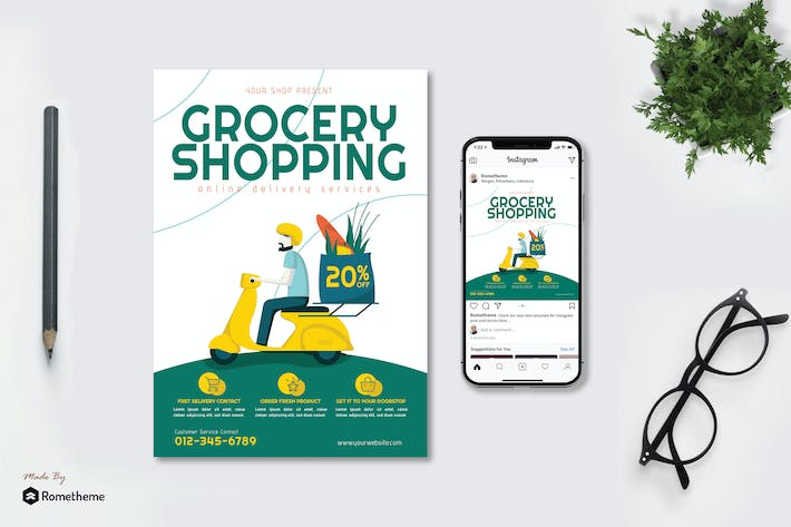 Thumbnail for Grocery Online Delivery v1 - Flyer & Instagram GR