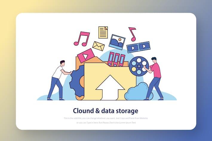 Thumbnail for Cloud Storage - Website Header Illustration