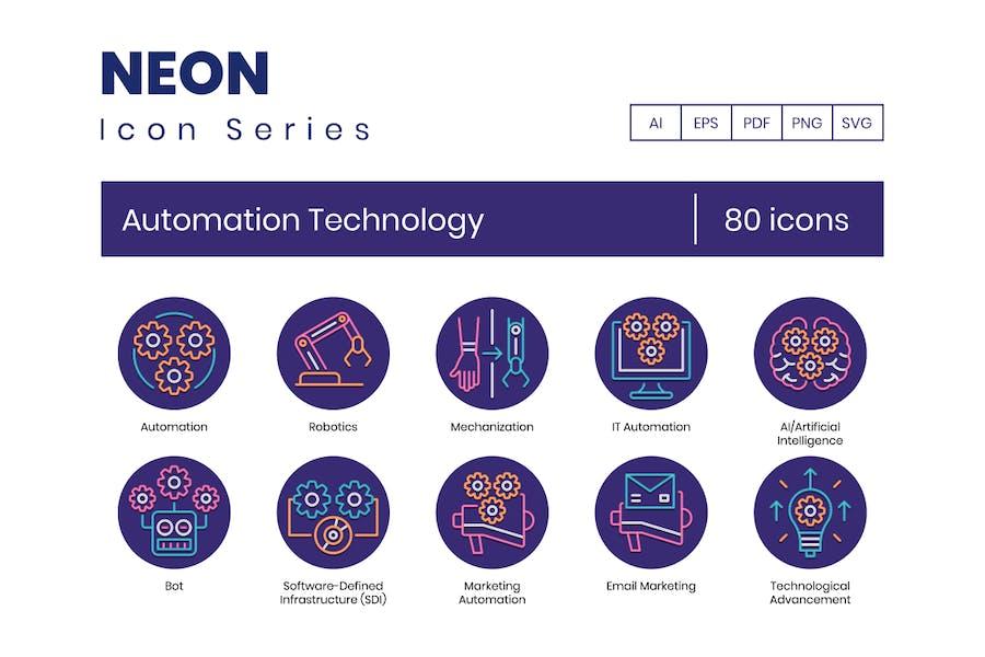 80 Icons für Automatisierungstechnik - Neon-Serie