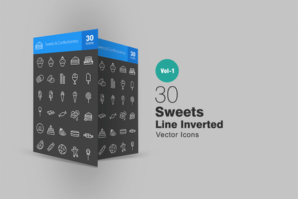 30 Süßigkeiten & Süßwaren Linie Inverted Icons