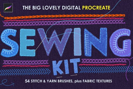 Sewing and Embroidery Procreate Brushes