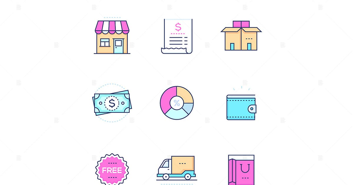 Download Shopping - modern line design style icons set by BoykoPictures