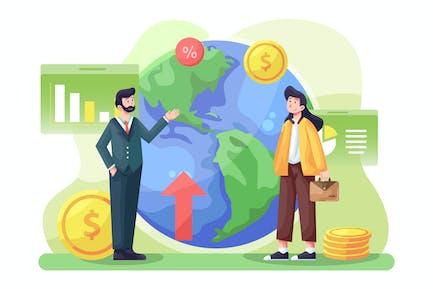 Ilustración de la economía global