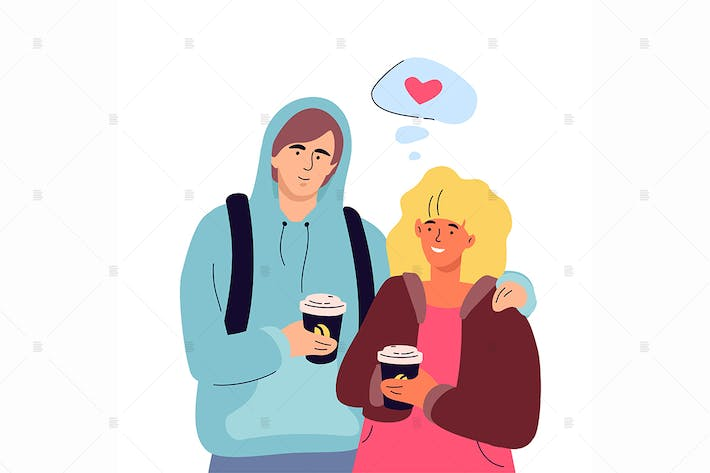 Thumbnail for Couple on a date - flat design style illustration
