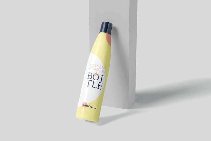 Slim Round Cosmetic Plastic Bottle Mockups